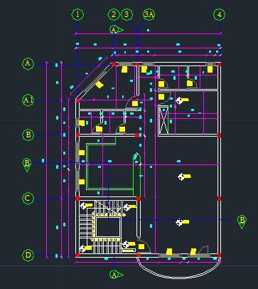 دانلود پلان اجرایی اسکلت فلزی - پلان اجرایی - یک واحده - اسکلت فلزی نما فاز دو پلان برش اسکلت فلزی