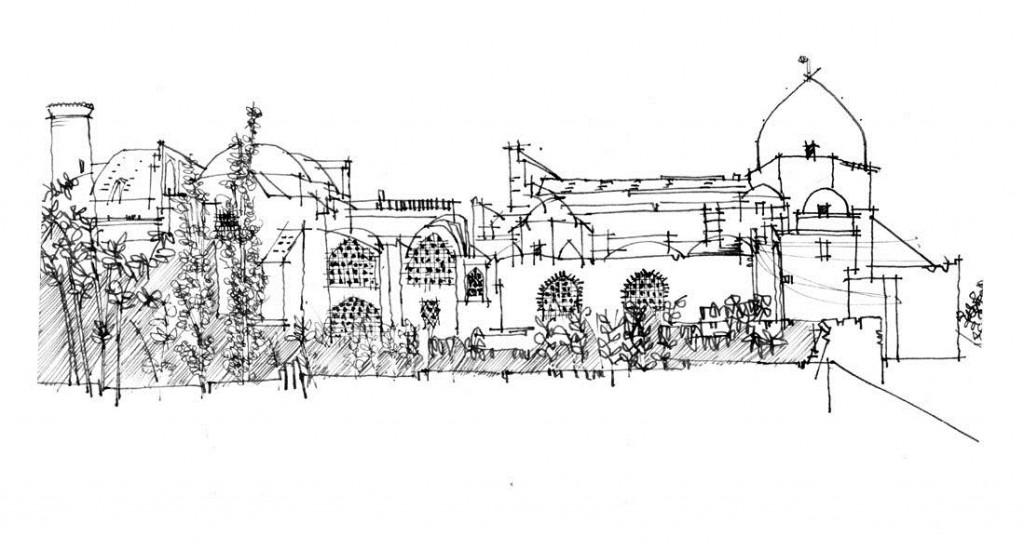 کروکی از نمای بیرونی مسجد جامع اردستان ( بنایی به شیوه ی رازی)