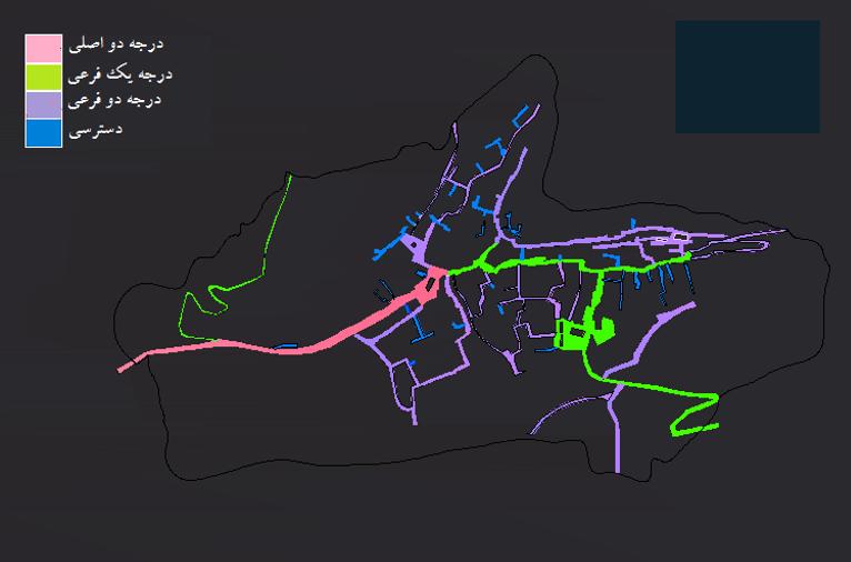 6-1-نقشه شبکه دسترسی روستا و درجه بندی معابر
