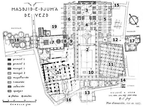 نقشه یا پلان مسجد جامع یزد