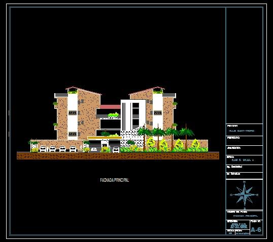 فایل اتوکد نما مجتمع مسکونی 5 طبقه با مبلمان کامل قابل ویرایش