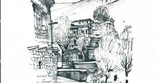 کروکی های هوشنگ سیحون – رودک دهکده ای کوچک در بهار هوشنگ سیحون معماری کروکی اسکیس