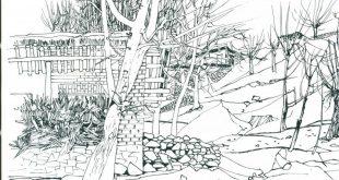 کروکی های هوشنگ سیحون – باغ های میوه رودک در زمستان هوشنگ سیحون معماری کروکی اسکیس