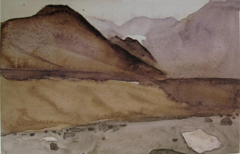 سهراب سپهری، چشم انداز، 1357، آبرنگ،13x20