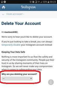 حذف دایم اکانت اینستاگرام