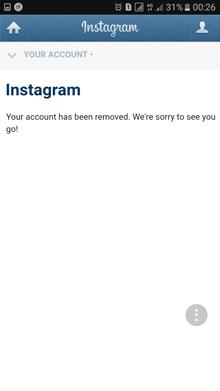 حذف موقت و دایم اکانت اینستاگرام